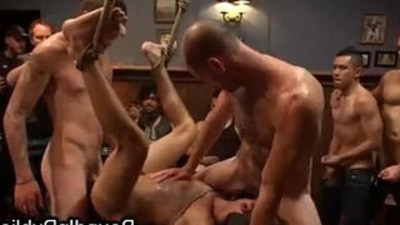Bound gay taken in bar where gets hard fuck by total strangers