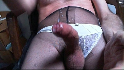 Pantyhose boy masturbation with Fleshlight