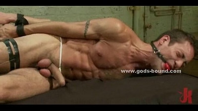 Gay slaves tied in bondage group sex