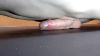 Hot guy with juicy dong push up humping himself to orgasm