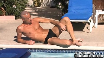 Brodie Beating Off Boner By The Pool